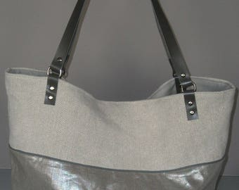 Glittery linen and linen tote bag