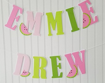 Pink watermelon Name Banner, watermelon Birthday Banner, pink watermelon Birthday, watermelon baby shower, pink watermelon Party supplies