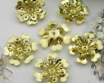 10pcs (22mm ) Raw Brass Flower Filigree Charms,(RB-04)