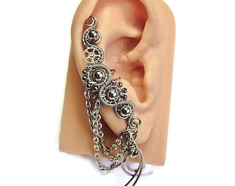 Custom Large Metal Steampunk Ear Cuff; U Choose Metal - Steampunk Jewelry