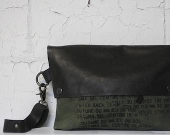 088 Olive Green Wristlet Clutch Bag , Printed Bag , Leather Handbag / Made in Brooklyn