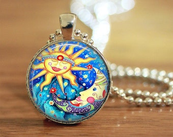 Celestial Pendant, Sun and Moon Necklace, Celestial Jewelry, New Age Gift, Hippie, Gift for her, Moon Lover, Mother Earth, Father Sky