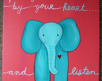 ELEPHANT PAINTING NURSERY Art On 12 X Inch Canvas Baby Childrens Room Decor Shower