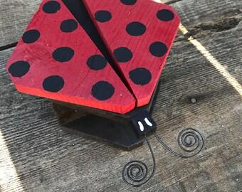 Ladybug House, Garden Helper Lady Beetle Bug Hotel, Handmade Ladybird Home With Raffia Bedding, Lady in Red, Item #577948457