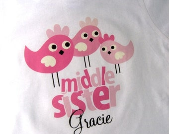 Middle Sister Shirt - Middle Sister Birdie t-Shirt - Middle Sister Bird Shirt - Tshirt with Cute Birdies - Three Pink Birds Shirt 01282014d