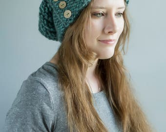 IN STOCK - Ready to Ship! / Blueberry Chunky Slouchy Hat