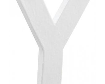 "Small white 3D letter ""Y"" 12 cm - Decopatch - Ref AC277 - until the stock cardboard."