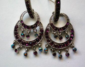 Pierced Dangle AB Deep Purple Earrings - 5129