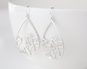Flower Teardrop Earrings - Garden - Silver - SALE