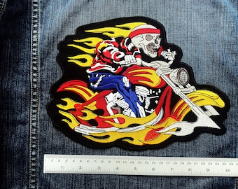 LARGE SIZE Skull God of Death  Motorcycle Biker Jacket Sewing Iron on Patch
