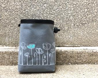 chalkbag, chalk bag, linoprint, handcarved, blockprinted, rock climbing chalk bag, floral, 1-3 day order
