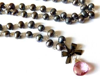Gray Pearl Necklace, Pink Drop, Gunmetal Bow, Wire Wrapped Oil Slick Pearls, Sterling Silver Gemstone Teardrop, Mystic Quartz Briolette