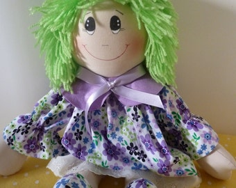 Emerald handmade rag doll - personalised embroidered message available