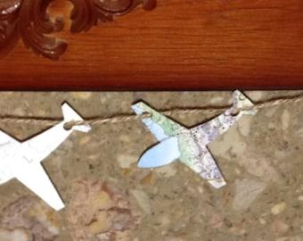 World Map Aeroplane Paper Garland - Hanging Pennants - Party Decorations - Bon Voyage Atlas Travel Bunting, Upcycled Wedding Plane