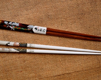 Vintage Japanese Lacquered Chopsticks with ladies pattern  set of 2