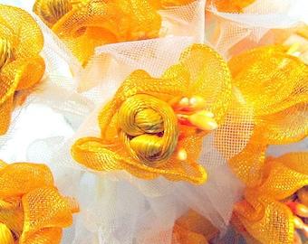 Satin Ribbon Flower Embellishments in Yellow