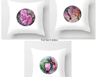 Set 0f 3 Pillow Pink Flower Watercolor Cusion White Pillow Indoor Outdoor