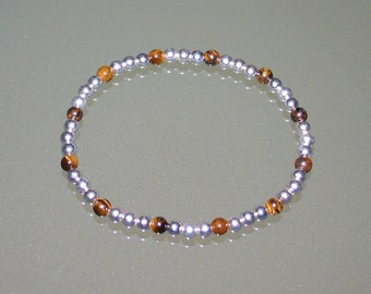 MICRO SILVER BRACELET...With Tiger's Eye...4mm Beads