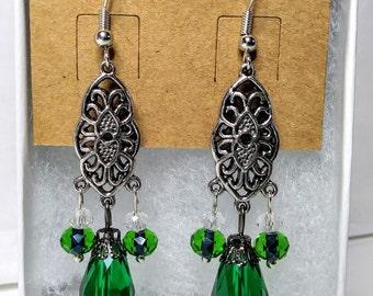 Green Filigree Drop Earrings