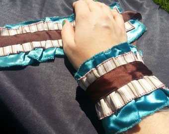 Blue, Brown and Cream Wrist Ruffle Cuffs