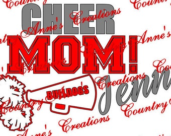 """SVG PNG DXF Eps Ai Wpc Cut file for Silhouette, Cricut, Pazzles, ScanNCut  -""""Cheer Mom""""   svg"""