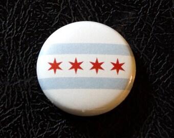 "1"" Chicago IL flag button - Illinois, city, pin, badge, pinback"