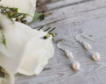 Pearl bridal earrings, simple pearl earrings, freshwater pearl drop, sterling silver earrings, bridal accessories, pearl bridal jewellery