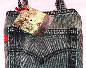 LAST ONE! Black Levis Red Tab Jeans Pre-Worn Denim Classic Essentials Handbag Style Clutch Pocket Purse