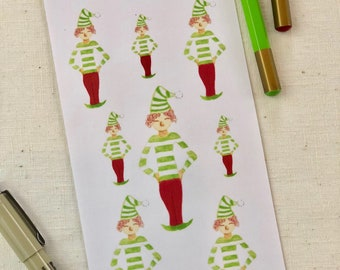 Christmas Elf Stickers - Planner Stickers 1 Sheet  - Watercolor Art Stickers - Holiday Stickers - Christmas Stickers
