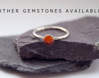Amber Gemstone Sterling Silver Ring ~ statement ring, stacking ring, gemstone, unique, beaded, birthstone, solitaire