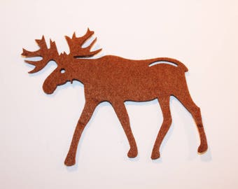 5 x large reindeer - cute felt Christmas decoration - 8.5 cm