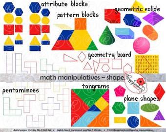Math Manipulatives Shapes Clipart Set - (300 dpi) School Teacher Clip Art Numbers Math Geometric Pentamino Pattern Tangram Shapes