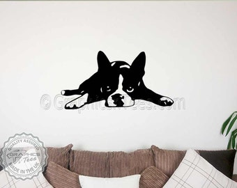 Cute Boston Terrier Puppy Dog Wall Sticker, Home Mural Wall Decal