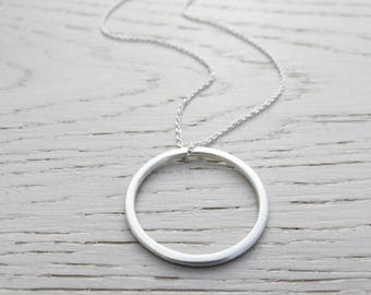 Long Silver Circle Necklace - Sterling Silver