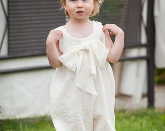 Baby cotton jumpsuit with bow  ivory summer beach birthday special occasion /