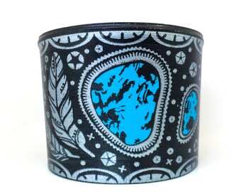 Silver and Turquoise Recycled Vinyl Record Cuff Bracelet
