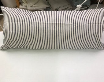 """READY TO SHIP-Indigo Ticking Stripe Pillow-14""""x30"""" Pillow Sham with Zipper-Removable Insert Included-Farmhouse Pillow-Porch Pillow"""