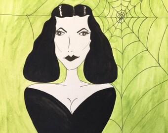 Vampira inspired Vintage style Greeting Card