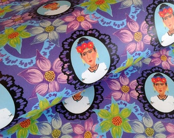 Frida Floral Cameo Wrapping Paper Sheets, Frida Kahlo Inspired