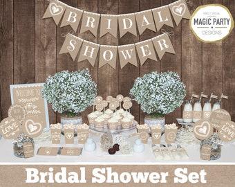 Bridal shower decorations, Rustic bachelorette party decors, Bride to be set, bridal party decors