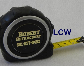 Measuring Tape Custom Personalized 16 Foot Black & Silver Fathers Day Dad Shop Tools Groomsmen Best Man Birthday Gift Yellow Metal Tape