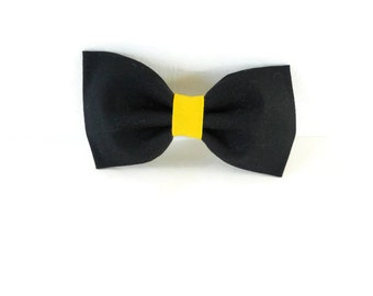 black and yellow bow tie, black and gold dog bow, team colors, school colors flower, girl dog bow, university color bow tie flower, cat bow