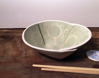Mint Green and White, Modern Circle Design, Rice Bowl, Noodle Bowl, Soup Bowl, Pho Bowl, Sgraffito, Earthenware, Hand Carved, Wonky Shape.