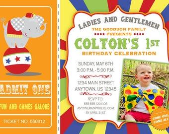 Circus Printable Birthday Party Invitation -- Big Top -- Photo -- Custom Digital File