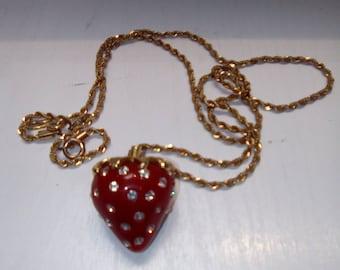 Vintage Strawberry gold crystal necklace
