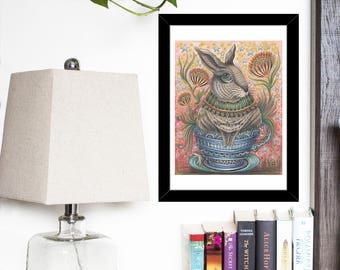 Archival 8 x 10 inch Art Print - Cup Of Sweet - Whimsical Grey Rabbit, Cup Of Tea, Whimsical Art, Rabbit Lover