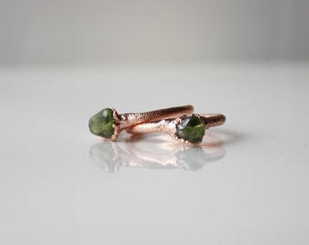 Raw peridot ring, Stackable ring, August birthstone ring,Electroformed, Copper or silver