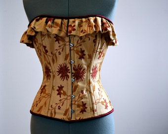Cute floral brocade overbust corset with frill. Historical authentic steel-boned corset, steampunk, cosplay, gothic corset. Gf, wife gift