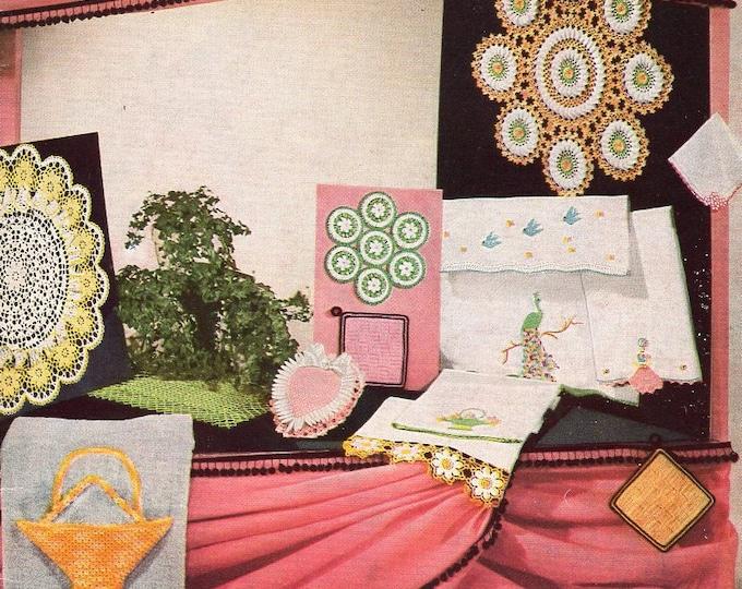FREE US SHIP Star Book 121 Crochet Fairs Bazaars 1950's Mid Century Modern Edgings Crinoline Basket Doily Pillow case Pineapple Pin cushion