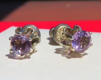 Amethyst Earrings - Light Purple Amethyst Post Earrings - Sterling Silver Flower and Amethyst Posts